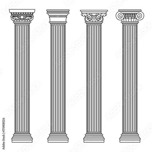Greek and roman architecture classic stone colomns. Outline vector illustration Fototapete