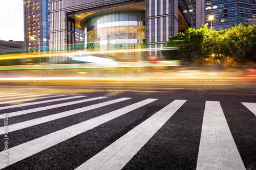 Photo  China Shanghai modern architecture, motion blur car.