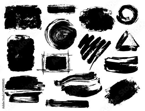 Hand Drawn Black Abstract Dry Brush Paint Ink Strokes