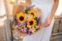 Sunflower Wedding Bouquet In T...