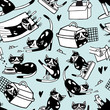 Seamless pattern with funny doodle cat in different postures against light blue background. Cute cartoon character hand drawn in black and white. Vector illustration for wallpaper, backdrop.