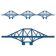 Forth Bridge Set Of Blue Silho...