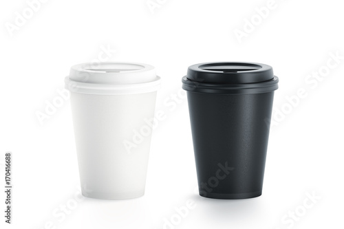 Obraz Blank black and white disposable paper cup with plastic lid mock up isolated, 3d rendering. Empty polystyrene coffee drinking mug mockup front view. Clear plain tea take away package - fototapety do salonu