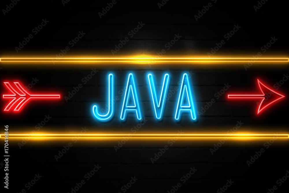 Fototapety, obrazy: Java  - fluorescent Neon Sign on brickwall Front view