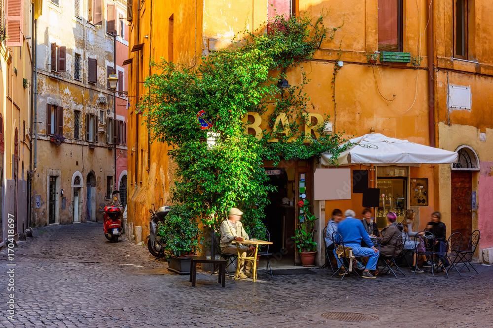Fototapeta Cozy old street in Trastevere in Rome, Italy