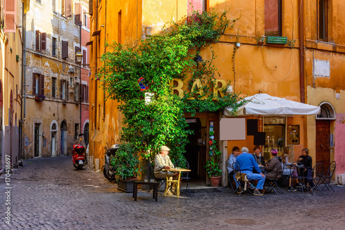 Photo Stands Rome Cozy old street in Trastevere in Rome, Italy