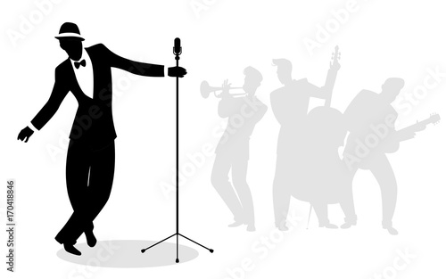 Retro singer 'crooner' silhouette with musicians in the background - 170418846