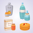 Juices and purees for baby. food cartoon products set.