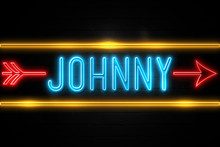 Johnny  - Fluorescent Neon Sign On Brickwall Front View