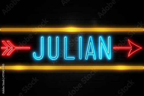 Fototapeta Julian  - fluorescent Neon Sign on brickwall Front view obraz