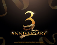 3 Year Anniversary Celebration Logotype Template. 3rd Logo With Ribbons On Black Background