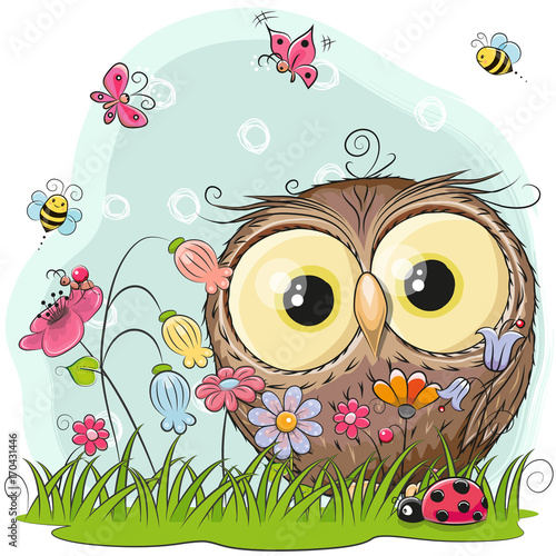 Poster Uilen cartoon Cute Cartoon Owl on a meadow