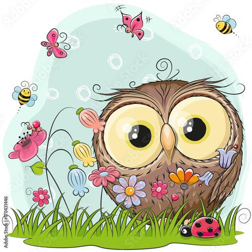 Canvas Prints Owls cartoon Cute Cartoon Owl on a meadow