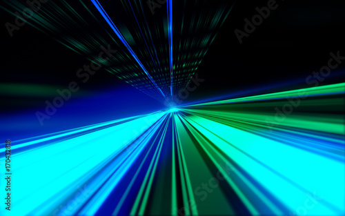 Speed motion on the neon glowing road at dark Fototapet