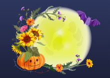 Halloween Round Card: Pumpkin With Eyes, Flowers (sunflowers, Gerbera Daisy, Thistle), Prickly Branches, Bat, The Moon, Dark Background. Illustration, Mock-up, Template Frame, Design, Vector