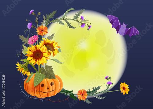 halloween round card pumpkin with eyes flowers sunflowers