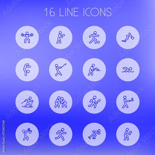 Fotografie, Obraz  Set Of 16 Sport Outline Icons Set