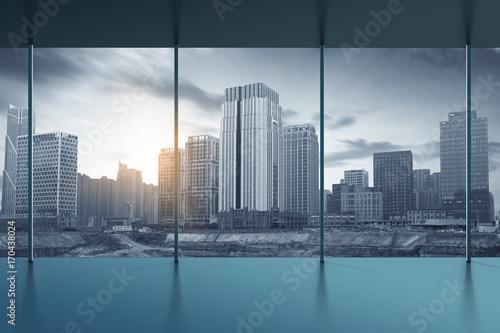 Fotomagnes wnętrze biura i widok na miasto