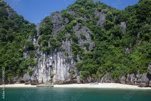 cruising among beautiful limestone rocks and secluded beaches in Ha Long bay, UNESCO world heritage site, Vietnam #170438622
