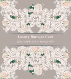 Luxury Baroque card roses flowers and ornament background Vector. Delicate Rich imperial intricate elements. Victorian Royal style pattern