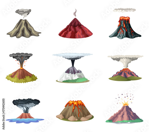 Fotografie, Obraz  Vector illustrations set of mountains and hot explosion of volcano