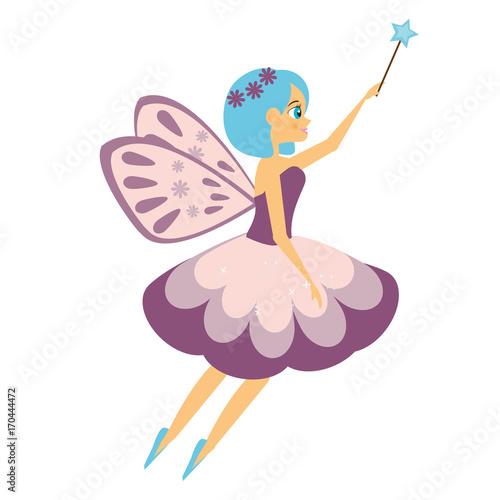 Plakat Piękny latający bajki machanie magicznym kijem. Elf księżniczka z różdżką. Styl kreskówki
