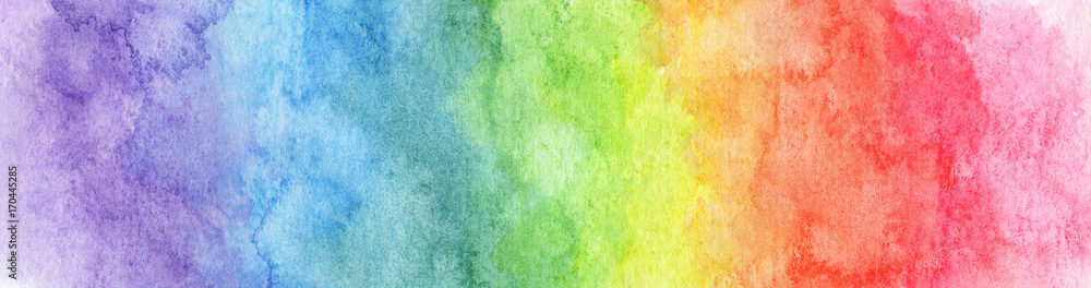 Fototapety, obrazy: Colorful Rainbow watercolor background - abstract texture