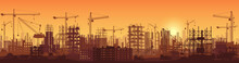 Wide High Detailed Banner Illustration Silhouette In Sunset Of Buildings Under Construction In Process.