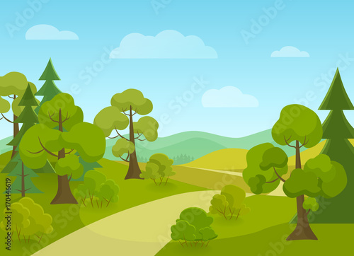 Fotobehang Lichtblauw Natural landscape with village road and trees. Cartoon vector illustration.