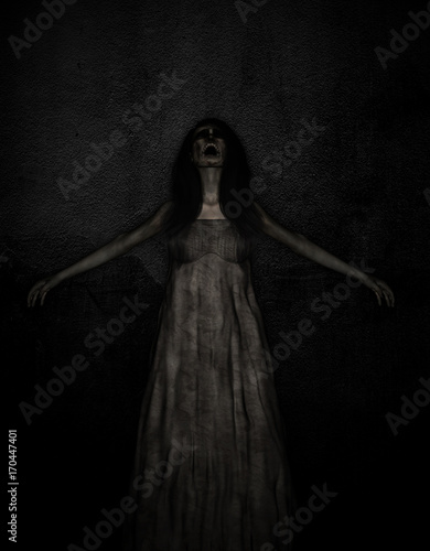 3d illustration of scary ghost woman in the dark,Horror background,mixed media Wallpaper Mural