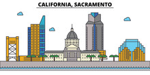 California, Sacramento.City Skyline: Architecture, Buildings, Streets, Silhouette, Landscape, Panorama, Landmarks. Editable Strokes. Flat Design Line Vector Illustration Concept. Isolated Icons