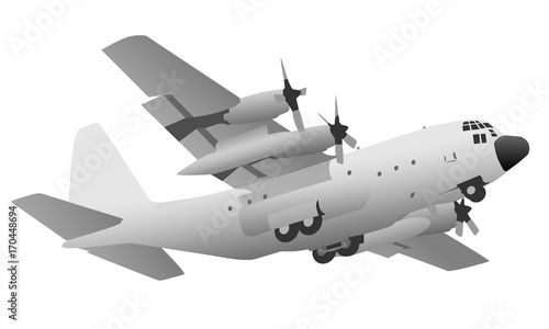 Photo Military Transport Cargo Aircraft Vector Illustration