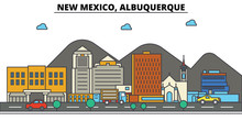 New Mexico, Albuquerque.City Skyline: Architecture, Buildings, Streets, Silhouette, Landscape, Panorama, Landmarks. Editable Strokes. Flat Design Line Vector Illustration Concept. Isolated Icons