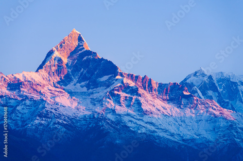 Machapuchare Mountain Peak Red Glow Sunrise Dawn