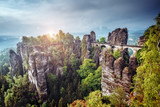 Fototapeta Kamienie - View of the Elbe Sandstone Mountains. Location place Saxony Switzerland national park, East Germany, Europe.