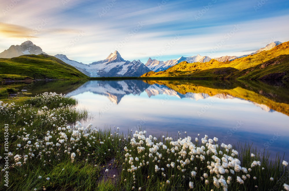 Great view of Mt. Schreckhorn and Wetterhorn above Bachalpsee lake. Location place Swiss alps, Grindelwald valley, Europe.