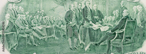 Foto Close-up of signing declaration of independence on two dollar banknote