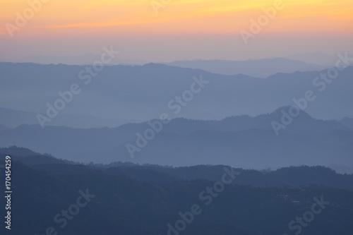 Keuken foto achterwand Heuvel Landscape hill scene while sunset.