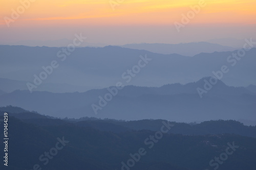 Canvas Prints Hill Landscape hill scene while sunset.