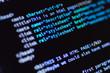 Software development. Software source code. Programming code. Writing programming code on laptop.