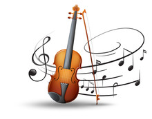 Violin And Music Notes In Back...