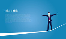 Businessman Walking On Rope. R...