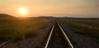 Railroad Tracks Reflect Sunrise Rural American Transportation Landscape