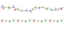 Vector Colorful Seamless Christmas Light Garlands Isolated On White Background