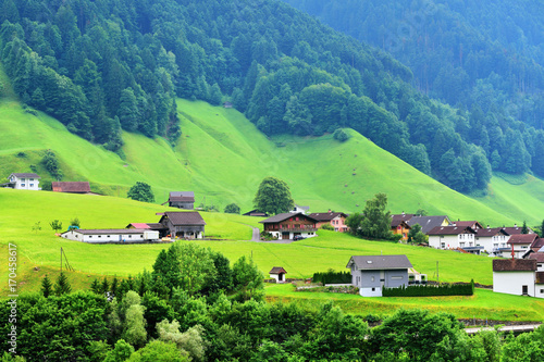 In de dag Lime groen Stunning alpine landscape in canton Uri, Switzerland