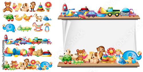 Photo Stands Kids Many types of toys and paper template