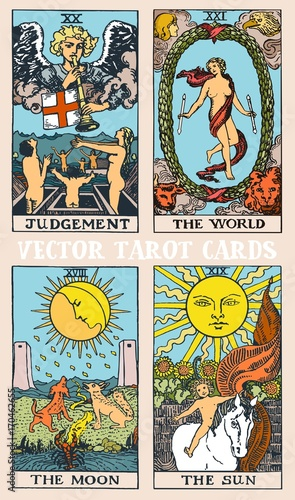 Tarot cards deck colorful vector illustration with magic and mystic graphic deta Wallpaper Mural