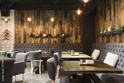 Fototapeta Cozy wooden interior of restaurant, copy space obraz