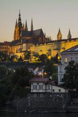 Illuminated Saint Vitius Cathedral in Prague