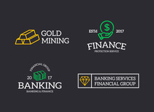 Set Of Retro Vintage Money And Bank, Cash, Diamond, Hand With A Coin, Gold Bars Logo Or Insignia, Emblems, Labels And Badges And Other Branding Objects. Vector Line Style